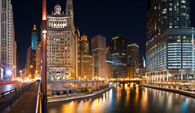 Chicago downtown at night Stock Photography