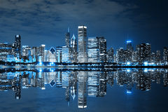 Chicago Downtown at Night Stock Images
