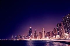 Chicago Downtown in the night Stock Photos