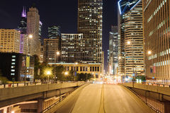 Chicago downtown at night Royalty Free Stock Images