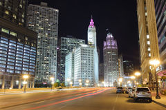 Chicago downtown at night Royalty Free Stock Photos