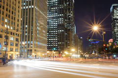 Chicago downtown at night Stock Photo