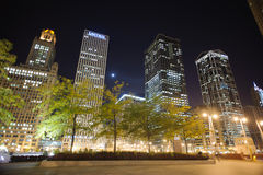 Chicago downtown at night Stock Photos