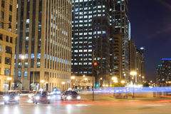 Chicago downtown at night Royalty Free Stock Photo