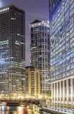 Chicago downtown by night, Illinois Stock Photography