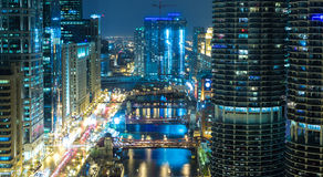 Chicago downtown at night in Illinois, USA Stock Image