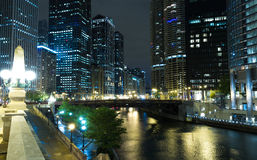 Chicago downtown at night in Illinois, USA Stock Photography