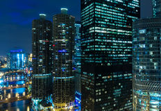 Chicago downtown at night in Illinois, USA Royalty Free Stock Photo