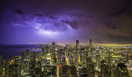 Chicago downtown night panorama with thunders Stock Photography
