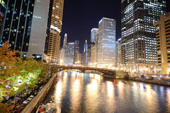 Chicago downtown at night Royalty Free Stock Image