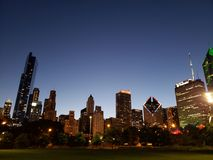 Chicago downtown night scene. Night scene of Chicago downtown Royalty Free Stock Photography