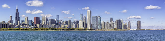 Chicago downtown panorama. In fall scenery Stock Photos