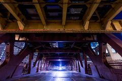Chicago downtown railroad bridge at night royalty free stock images