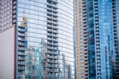 Chicago downtown residential building exteriors. With reflection stock photos