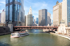 Chicago downtown. And River with bridges Stock Images