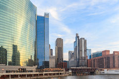Chicago downtown and River with bridges at dusk. Royalty Free Stock Photo
