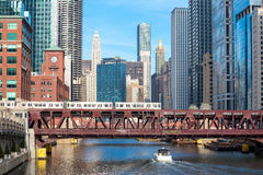 Chicago downtown and River Royalty Free Stock Photography