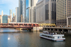 Chicago downtown and River Stock Photo