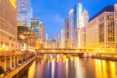 Chicago downtown and River dusk Stock Photos