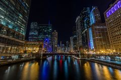 Chicago downtown by the river at night Royalty Free Stock Photo