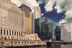 Chicago downtown riverfront, office buildings and river at sunset Royalty Free Stock Photography
