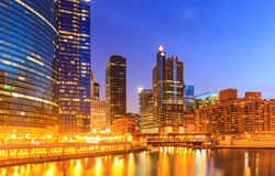 Chicago downtown riverside at night. Stock Photos