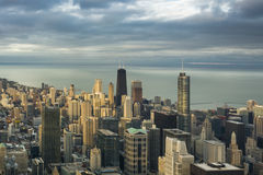 Chicago Downtown Skyline. Aerial view in a cloudy day Royalty Free Stock Image