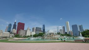 Chicago Downtown Skyline from the Buckingham Fountain View stock footage