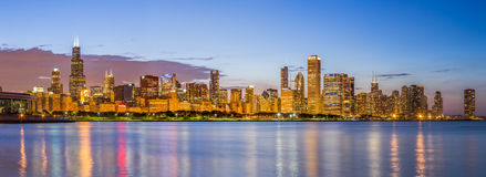 Chicago downtown skyline and lake michigan at night Royalty Free Stock Photo