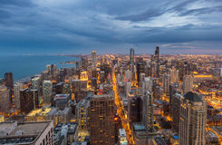 Chicago downtown skyline at night, Illinois Stock Images