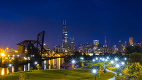 Chicago Downtown Skyline Night Scene Stock Photo