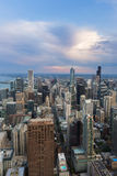 Chicago downtown skyline at sunset Royalty Free Stock Photos