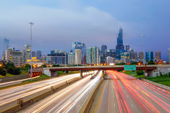 Chicago downtown skyline at twilight Royalty Free Stock Images