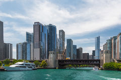 Chicago Downtown skyline view from a boat Stock Photos