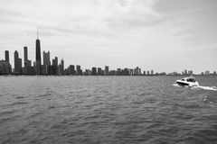Chicago Downtown skyline view from a boat Stock Photography