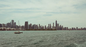 Chicago Downtown skyline view from a boat Royalty Free Stock Photography