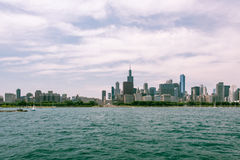 Chicago Downtown skyline view from a boat Royalty Free Stock Photo