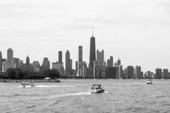 Chicago Downtown skyline view from a boat Royalty Free Stock Photos