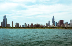 Chicago Downtown skyline view from a boat Royalty Free Stock Images