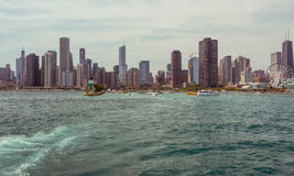 Chicago Downtown skyline view from a boat Stock Photo