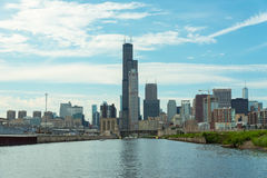 Chicago Downtown skyline view from a boat Royalty Free Stock Image
