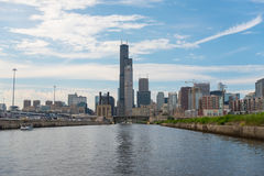 Chicago Downtown skyline view from a boat Stock Image