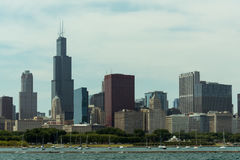 Chicago Downtown skyline view from a boat. Chicago  downtown  usa  illinois  city  town  windycity  чикаго  сша  travel  skyline  michiganlake  lake Royalty Free Stock Images