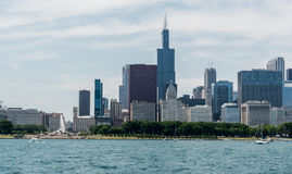 Chicago Downtown skyline view from a boat. Chicago  downtown  usa  illinois  city  town  windycity  чикаго  сша  travel  skyline  michiganlake  lake Royalty Free Stock Photo