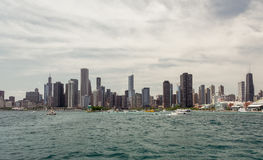 Chicago Downtown skyline view from a boat. Chicago  downtown  usa  illinois  city  town  windycity  чикаго  сша  travel  skyline  michiganlake  lake Royalty Free Stock Photography