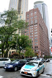 Chicago downtown street and traffic. Chicago city north downtown street view and traffic. Photo taken in October 5th, 2014 Stock Photo