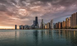 Chicago Downtown sunrise with water reflections Stock Photos