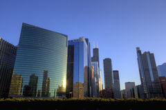 Chicago Downtown at Sunset. Colourful Chicago Downtown next to the river at Sunset, Illinois Stock Photography