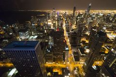 Chicago downtown from 95th floor stock photo