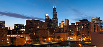 Chicago downtown at twilight. Royalty Free Stock Photo